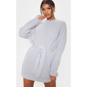 Light Grey Soft Touch Belted Knitted Jumper Dress